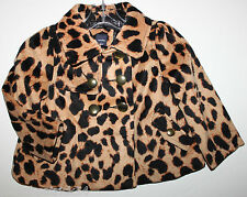 baby Gap NWT Girls Bryant Park Velour Leopard Cheetah Coat w Brass Buttons