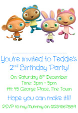 personalised photo paper card party invites invitations CBEEBIES WAYBULOO 2