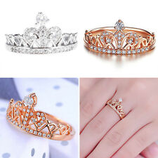 Hot Women Fashion Jewelry Princess Environmental Copper Crown AAA Zircon Ring