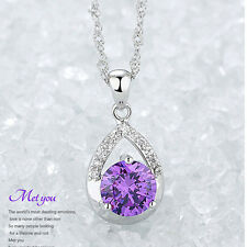 Women Silver Plated Necklace Clavicle Chain Jewelry Elegent Crystal Pendant