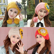 Winter Women Flower Beanie Xmas Knit Crochet Ski Hat Cap scarf hair band New 129