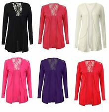 New Womens Lace Back Boyfriend Cardigan Open Front Pocket Long Sleeve Floral Top