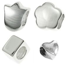 Sterling Silver Plain Flower Heart Cube Spacer Bead for European Charm Bracelets