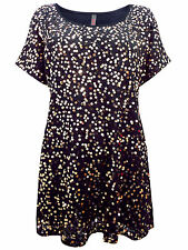 Womens plus size 20 22 24 top black party / evening sequin tunic short sleeve