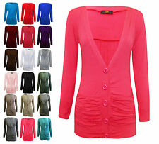 V Neck Ruched Pocket Front Womens 5 Button Cardigan Multipack of 3 Three Tops