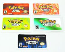 Pokemon GBA Gameboy Advance Labels Stickers Emerald Fire Red Sapphire Leaf Green