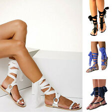 Women Gladiator Flat Lace Up Strappy Knee High Boots Ankle Strap Sandals Shoes