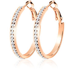 Womens Cubic Zirconia Rose Gold, Gold and Silver Hypo Allergenic Hoop Earrings