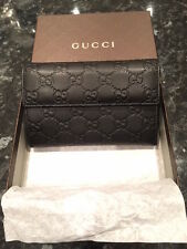 BRAND NEW BOXED 100% GENUINE GUCCI GUCCISSIMA UNISEX BLACK/BROWN LEATHER WALLET