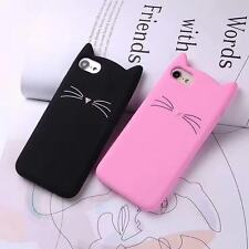 Hot Cute Bearded Cat Cartoon Soft Silicon Case Cover Back For For iPhone Samsung