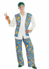 Mens Cool Dude Hippy Man Costume Fancy Dress 70's Psychadellic Blue Set Hippie