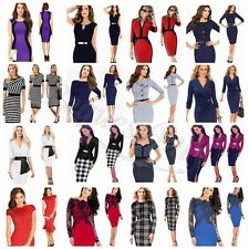 Elegant Women's V Neck Ruched Wrap Tunic Evening Party Sheath Pencil Midi Dress