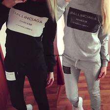 Women Fashion Casual Letter Print Pullover Sweats Sweatshirt and Pants WN