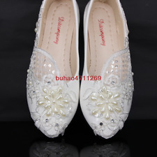 Wedding White Lace Pearl Bridesmaid Bridal Shoes Flat Low High Heels Big Size