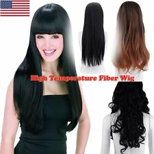 Women's Straight Wavy Hair Long Natural Full Wigs Ombre Cosplay Party Fashion E