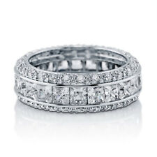 Sterling Silver 925 Bridal CZ Princess Cut Pave Eternity Wedding Band Ring 4-10