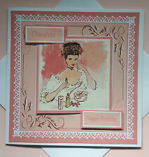 """Handmade Birthday card with Vintage Lady. Any relative or name. Large 7 x 7"""""""