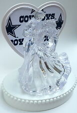 Wedding Cake Topper Dallas Cowboys Themed Clear Couple Dancing White Fabric Fans