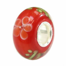 Sterling Silver Round Flower Blossom Red Glass Bead For European Charm Bracelets
