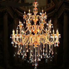 church gold chandelier ceiling Fixture Big champagne crystal light pendant lamp