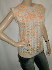 30/8 GORGEOUS WHITE BABY ORANGE LACE BOBBLE SS HAND KNITTED JUMPER 12