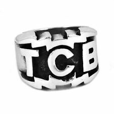 Mens TCB Elvis Presley Biker Ring Stainless Steel Silver 316L Engraved