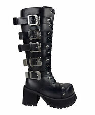 Goth Punk Rock Grunge Bovver Emo Cyber Anime Cosplay Platform Unisex Knee Boots