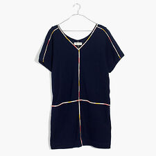 NWT Madewell By JCrew Embroidered Easy Dress Navy Blue Size Small Medium Extra S