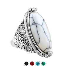 Women's Vintage Boho Oval Turquoise Antique Silver Plated Carving Ring Optimal