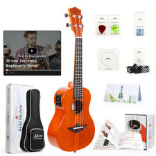 Aklot Solid Mahogany Ukulele Electric Tenor Soprano Concert Uke Hawaii Guitar