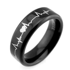 """Lifetime Love""6mm Black Titanium Couple Rings Cardiogram Heartbeat Laser Mens"