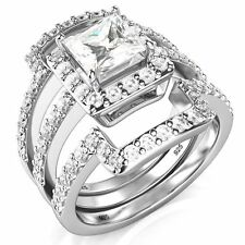 Sterling Silver 3Pcs 925 CZ Cubic Zirconia Engagement Wedding Band Ring Set