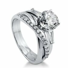 Sterling Silver 2.55 ct.tw Round Cubic Zirconia CZ Solitaire Engagement Wedding