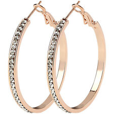 40mm Cubic Zirconia Rose Gold, Gold and Silver Hypo Allergenic Hoop Earrings