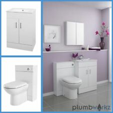 Bathroom Furniture Suite Vanity Unit Cabinet Basin Back To Wall Toilet WC Unit