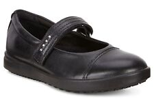 ECCO GIRLS KIDS BLACK LEATHER MARY JANE ANKLE STRAP BACK TO SCHOOL SHOES SIZE UK