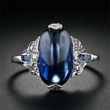 925 Silver Vtg Women Jewelry Blue Sapphire Engagement Wedding Gift Ring Size6-10