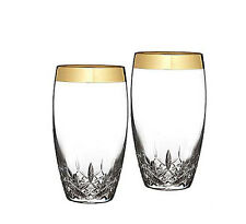 Waterford LISMORE ESSENCE Gold ICED BEVERAGE  Glasses (Set of 2)  NEW - BOX