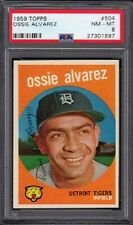 1959 Ossie Alvarez Topps Baseball Card #504 Graded PSA 8 NM-MT (Near Mint-Mint)