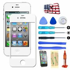 White Front Screen Glass Lens Replacement Repair Kit & UV Glue  for iPhone 4 4S
