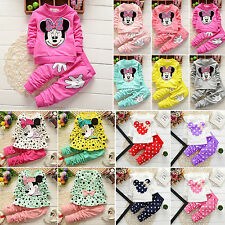 2Pcs Kids Baby Girls Minnie Mouse Long Sleeve T-shirt Tops Pants Set Outfit 0-3T