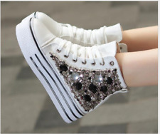 Womens High Top Lace Up Rhinestone Beaded Sneakers Platform Wedge Muffin Shoes