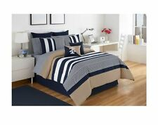 Striped Bedroom Comforter Bedskirt Sham Set Bed Cover Twin Full Queen Cal King