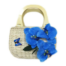 Women beach straw bag casual tote fake florals boho bags gift for lady