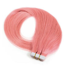20PC Tape in Human Hair Extensions Remy Human Hair Straight Pink