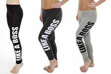 NEW WOMENS LADIES STRETCHY LIKE A BOSS PRINT LEGGINGS JOGGING GYM BOTTOMS 8-14