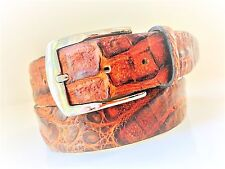 NEW GENUINE CROCODILE BELT CARAMEL BROWN SIZE 85/32 MADE IN ITALY GREAT PRICE