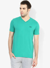 Fila Cove Green Solid V Neck T-Shirt