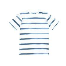 Skate Cafe Embroidered Stripe T-Shirt - White/Royal