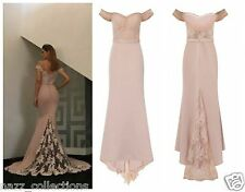 CELEB NUDE OFF SHOULDER LACE FISHTAIL MAXI PROM PARTY BRIDESMAID DRESS 6-18